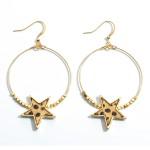 Wholesale beaded Genuine Leather Cheetah Print Star Drop Earrings Gold