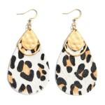Wholesale genuine Leather Leopard Print Teardrop Earrings Gold Metal Accent