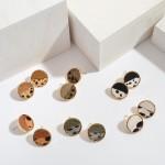 Wholesale genuine Leather Animal Print Button Stud Earrings Diameter