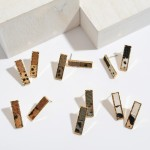Wholesale genuine Leather Animal Print Bar Stud Earrings Long