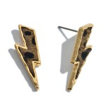 Wholesale genuine Leather Cheetah Print Lightning Bolt Stud Earrings Long