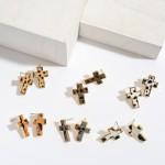 Wholesale genuine Leather Leopard Print Cross Stud Earrings