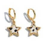 Wholesale genuine Leather Cheetah Print Star Huggie Hoop Earrings