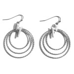 Wholesale textured Round Drop Earrings Lightning Bolt Accents