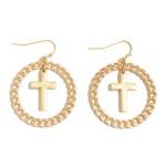Wholesale chain Link Cross Drop Earrings Diameter