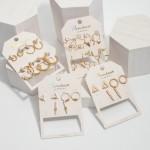 Wholesale pC Two Geometric Stud Earring Set Pair Per Set