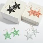 Wholesale color Filigree Star Drop Earrings