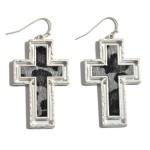 Wholesale leopard Print Cross Drop Earrings Metal Trim
