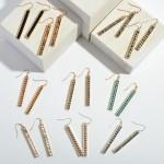 Wholesale semi Precious Beaded Bar Earrings