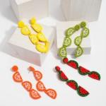 Wholesale seed Beaded Fruit Felt Statement Drop Earrings