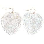 Wholesale filigree Tropical Leaf Earrings Paint Splatter Details