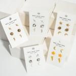 Wholesale set Three Pairs Celestial Stud Earrings Crescent Studs Long Star Studs