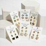 Wholesale set Three Pairs Texas Themed Earrings Rhinestone Druzy Accents Rhinest