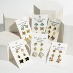 Wholesale set Three Pairs Texas Themed Earrings Rhinestone Druzy Accents Rhinest