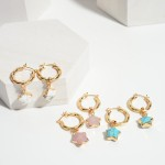 Wholesale gold Hoop Earrings Natural Stone Star Accents Long