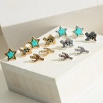 Wholesale set Three Pairs Texas Themed Earrings Turquoise Accents Cactus Stud Ea