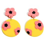 Wholesale clay Polymer Drop Earrings Floral Accents Long
