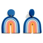 Wholesale multicolor Polymer Clay Drop Rainbow Earrings