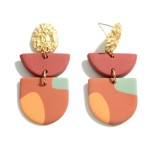 Wholesale multicolor Polymer Clay Drop Earrings Gold Accents