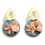 Wholesale clay Polymer Drop Earrings Flower Accents