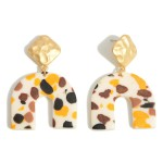 Wholesale clay Polymer Rainbow Drop Earrings Abstract Print Gold Accents
