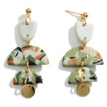 Wholesale abstract Print Polymer Clay Drop Earrings Gold Accents