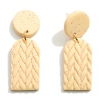 Wholesale ivory Clay Polymer Drop Earrings Woven Details