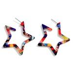 Wholesale multi Color Resin Star Earrings Long