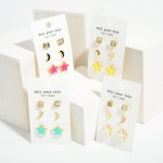 Wholesale set Three Pairs Celestial Stud Earrings CZ Studs Long Crescent Studs L