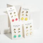 Wholesale set Three Pairs Stud Earrings CZ Studs Long Gold Studs Long Druzy Stud