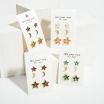 Wholesale set Three Pairs Celestial Earrings Animal Print Accents Smaller Star S