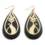 Wholesale halloween Leather Teardrop Earrings Black Cat Details