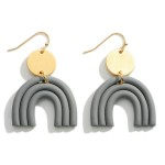 Wholesale clay Polymer Rainbow Drop Earrings Gold Accents