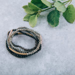 Wholesale iridescent beaded stretch bracelet black accent diameter unstretched F