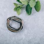Wholesale dainty Beaded Stretch Bracelet Gold Tube diameter Fits up wrist
