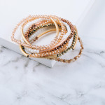 Wholesale iridescent beaded stretch bracelet gold accent diameter unstretched Fi