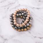 Wholesale silver stretch bracelet metal hammered beaded details diameter unstret