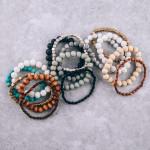 Wholesale bracelet set five stretch bracelets wood natural stone lava rock inspi