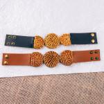 Wholesale genuine leather bracelet rattan woven disc snap button closure diamete