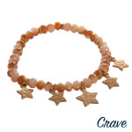 Wholesale faceted beaded stretch bracelet star accents diameter unstretched Fits