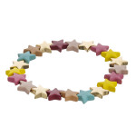 Wholesale color block star beaded stretch bracelet diameter unstretched Fits up