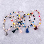 Wholesale color block star pearl beaded stretch bracelet tassel accent diameter