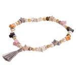 Wholesale color block star pearl beaded stretch bracelet tassel accent diameter