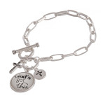 Wholesale chain linked toggle clasp charm bracelet round dome God s Got illustra