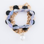 Wholesale chunky Semi Precious Pearl Chain Link Statement Bracelet Set pcs set S