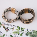 Wholesale multi strand faux leather snakeskin magnetic bracelet Magnetic closure