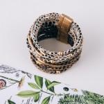 Wholesale multi strand faux leather snakeskin magnetic bracelet Magnetic closure