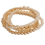 Wholesale faux pearl beaded sphere stretch bracelet set pcs set diameter unstret