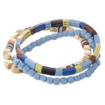 Wholesale gold shiny enamel multi color block stretch bracelet set pcs pack diam