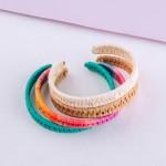 Wholesale raffia woven cuff bracelet diameter Fits up wrist